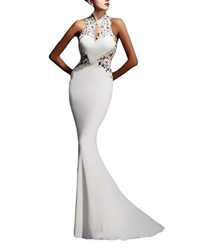 Abito Cerimonia Donna Lungo Elegante Vestito Da Sera Vintage Pizzo Giuntura  Slim Fit Abiti Da Sposa 3e27d4b6de4