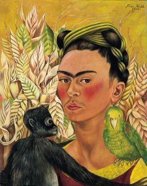 Autorretrato con Chango y Loro (Frida Kahlo, 1942)