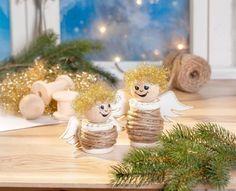 Bastelset Weihnachtsengel mit Holzspulen