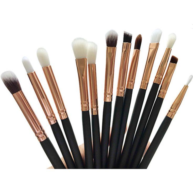 12 Pcs Black handle Rose gold tube Blending Pencil Foundation Eye shadow Makeup Brushes Eyeshadow Brush foundation brush