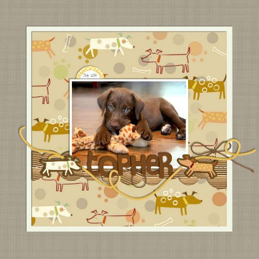 Dog scrapbook layout The layered alphas intertwined with the string make a playful & dynamic page.