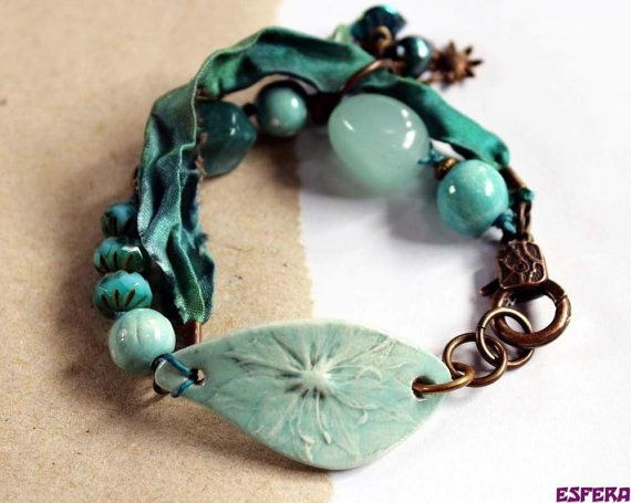 Green bracelet, ceramic beads, bo hulley, sari silk, boho bracelet, bracelet bar, Czech glass, Czech flowers, sari silk, by esfera jewelry