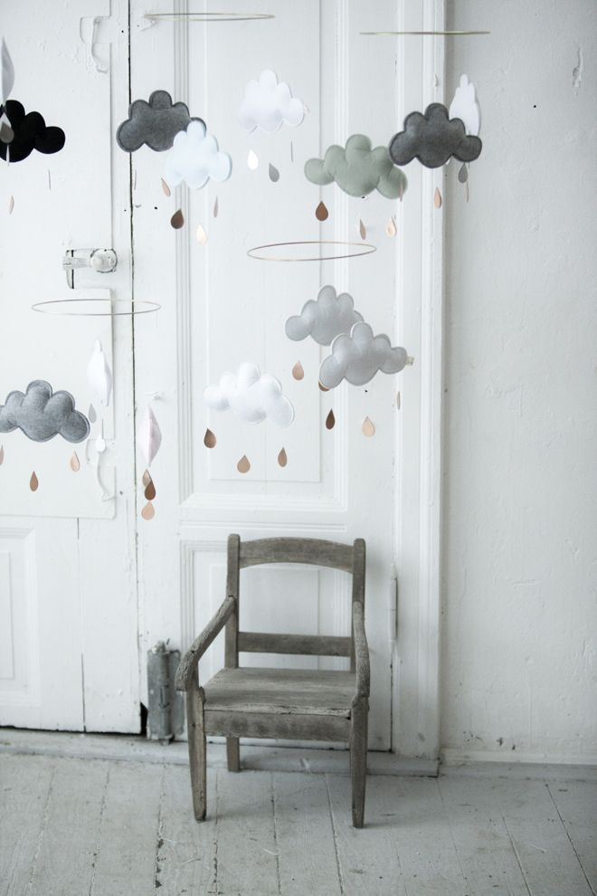 Felt Cloud Mobiles from Nubie, published by Bobby Rabbit. grey kids pinned by barefootstyling.com