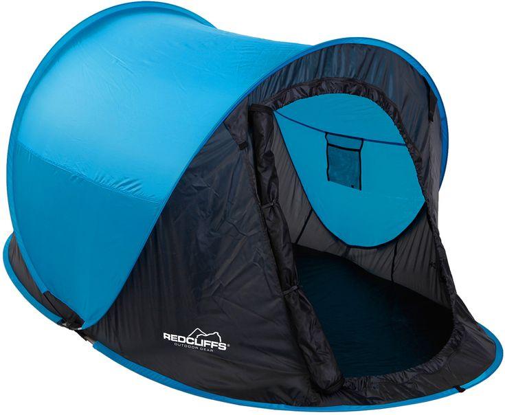 Redcliffs 2 persoons Pop-Up tent blauw  Redcliffs 2-persoons Pop-Up tent  Deze Pop-up tent zet je in een handomdraai neer  Pop-Up tenten zijn perfekt bij festivals of als bijzettent voor de kinderen  Het is een zeer compacte tent geschikt voor 2 personen  Het ovale grondoppervlak heeft als grootste maat: 220x120cm de hoogte bedraagt 95cm   Neemt zeer weinig ruimte in (90x2.5cm)  Verpakt in een handige draagtas  Levering in de kleur BLAUW  EUR 35.95  Meer informatie