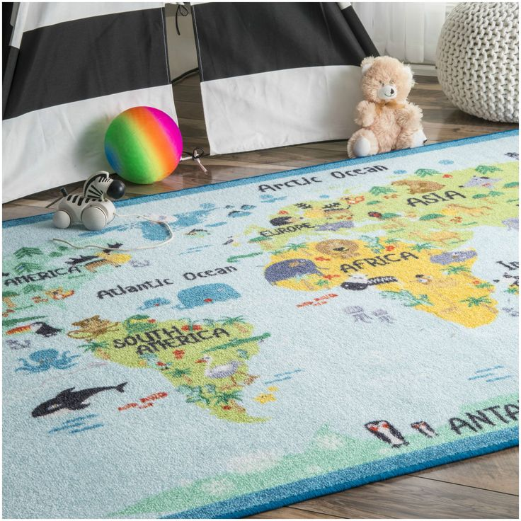 This fun World Continent Map pattern and bold colors makes up this fabulous kids rug. This rug is machine made for a bold and unique textured effect. Pile Height: 0.25 - 0.5 inch Material: Nylon Style