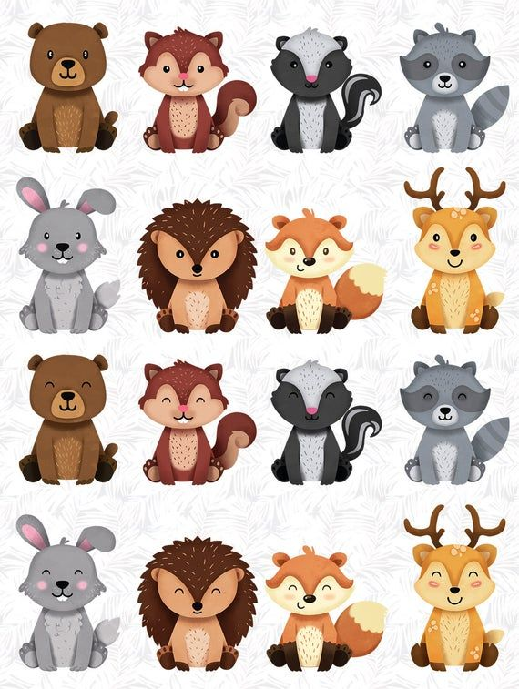 Woodland Animals Clipart Forest Friends Animal Buddies Woodland Nursery Decor Woodland Animal Baby Woodland Baby Shower Nursery Decor Woodland Animals Baby Shower Woodland Cute Stickers