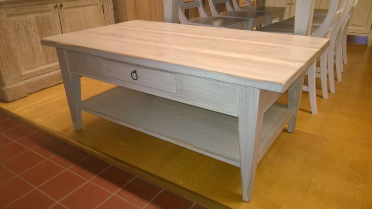 Lankkusohvapöytä 120×70 cm antiikkiviimeisteltynä valkokalkki tyyliin Suomen