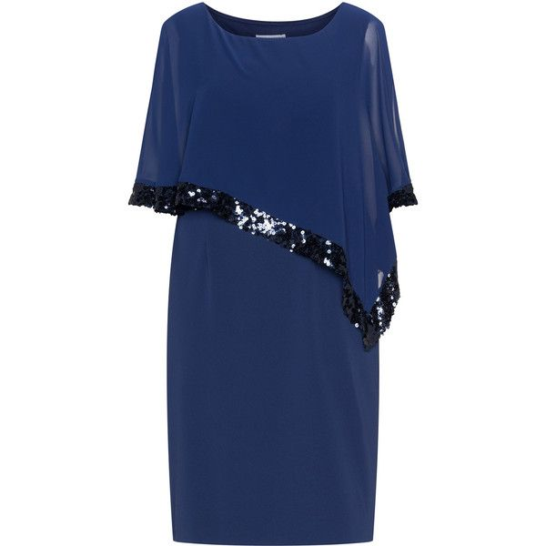 Gina Bacconi Dark-Blue Plus Size Sequin accent chiffon overlay dress ($280) ❤ liked on Polyvore featuring dresses, plus size, jersey dress, sequin dresses, plus size sequin dress, knee length dresses and chiffon dresses