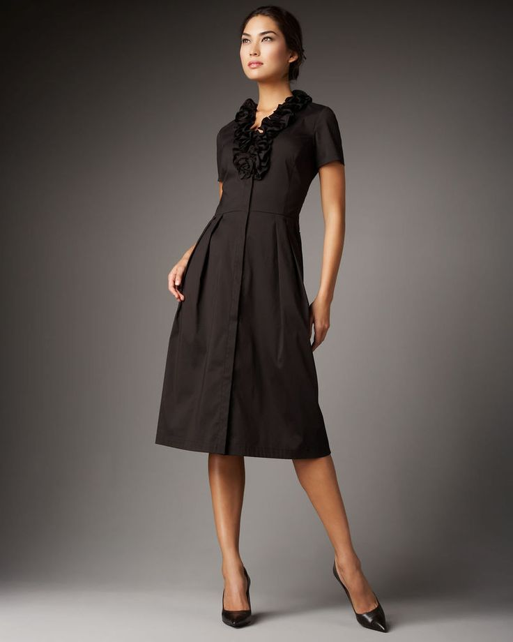 Lafayette 148 Black Ruffle Waist Tie Shirt Dress Size 8 $138  #Lafayette148NewYork #ShirtDress