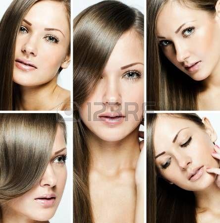 mode kapsel collage, natuurlijke lange glanzend gezond haar photo