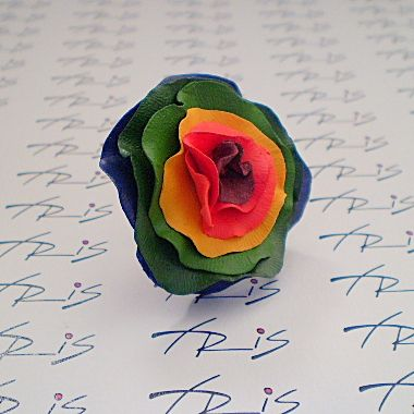 ring of polymer clay and hand painted
