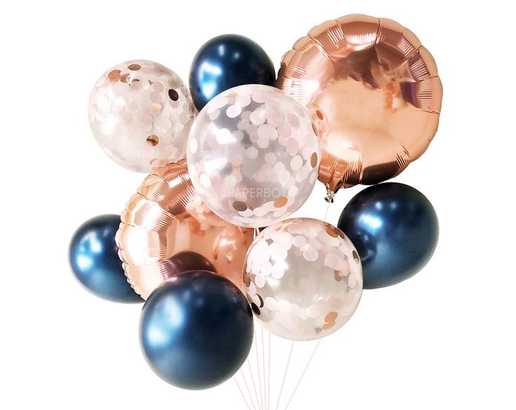 Navy Blush and Rose Gold Balloons ( Balloon Bouquet Bundle ) - Fall / Autumn Wedding Decor by PaperboyParty on Etsy https://www.etsy.com/listing/562954229/navy-blush-and-rose-gold-balloons