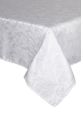 Bardwil White Tulip White Oblong Tablecloth