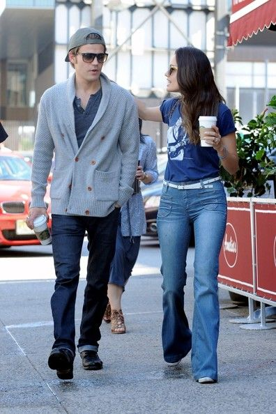 "Paul Wesley and wife Torrey DeVitto go out for a stroll and grab some coffee in New York City. ""The Vampire Diaries"" couple looked upbeat as they sipped a Starbucks and walked with a friend. - Paul Wesley and Torrey DeVitto Get Coffee"