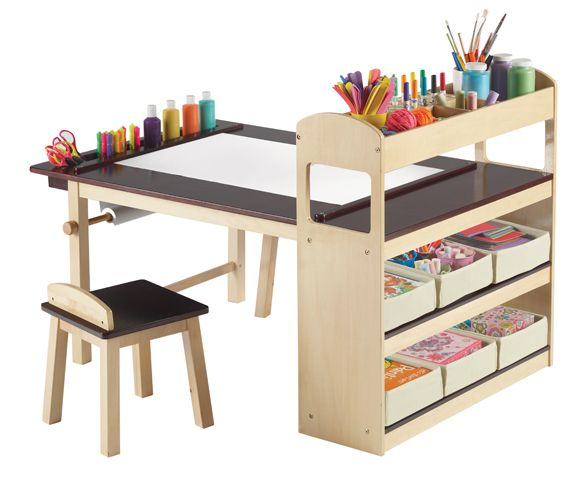 for now the kitchen table and art station will do but someday when we have room would love for the kids to have the ultimate kids art desk! -- just need to old enough to know where to put things back and how to use supplies properly (as in: not to paint and draw on the walls)!