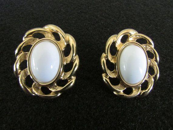 Vintage Monet Earrings, Signed Monet Earrings, White Gold Monet, Monet Earrings Jewelry, Fashion Costume Jewelry, Free US Shipping