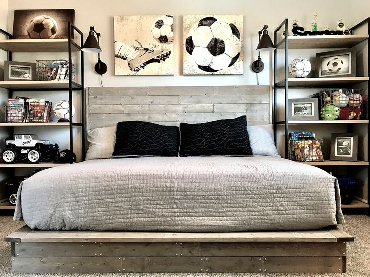 Industrial Style Boy Soccer Themed Bedroom. DIY Handmade Wood Bed. Shelves,  Photos Frames