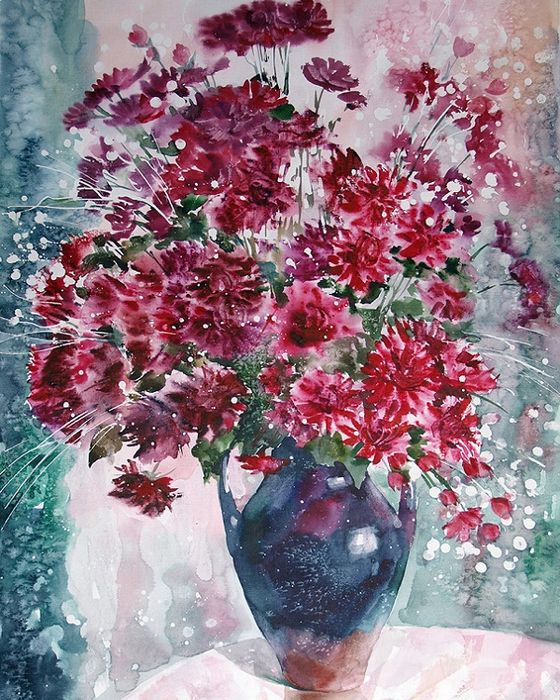 Савинова Роза Фаритовна.  Огонь последних хризантем. Из серии  Вдохновение (560x700, 571Kb)