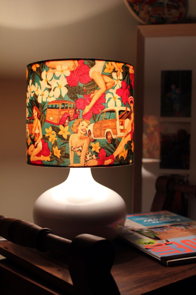 this beautiful retro lampshade is 20cm.  with its earthy tones it can easily fit into any space.  Www.twoshadymonkeys.com.au