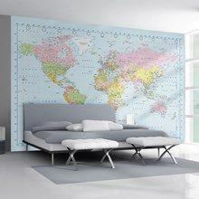 Fototapet - Verdenskort til væg 232 x 315 cm