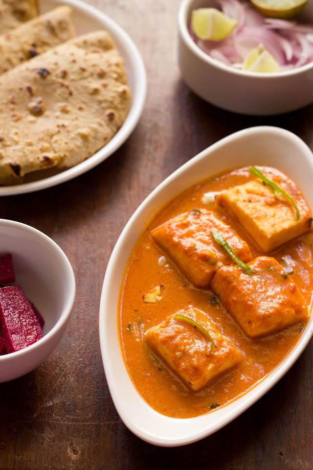 paneer butter masala – soft succulent paneer – cottage cheese cubes in a creamy tomato based gravy.  #paneer