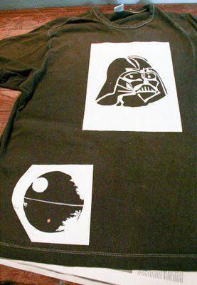 Freezer paper Star Wars stenciling