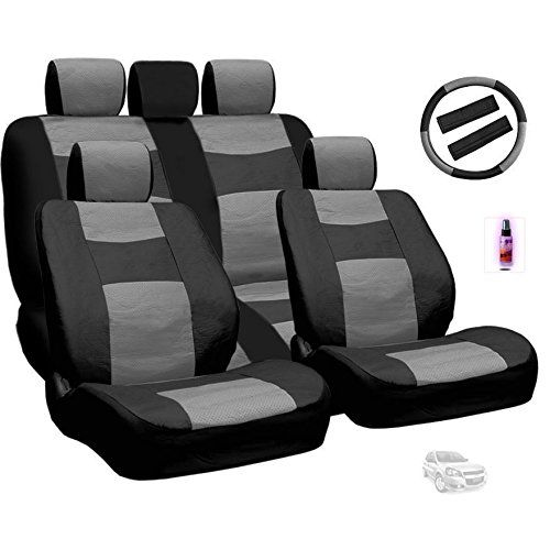 Yupbizauto  Premium Grade Synthetic Leather Car Seat Covers Set  Quality Seat Protection  Universal Size  Airbag Compatible  Support 60 40 Split Seats Fast Shipping Grey *** Want to know more, click on the image.Note:It is affiliate link to Amazon.