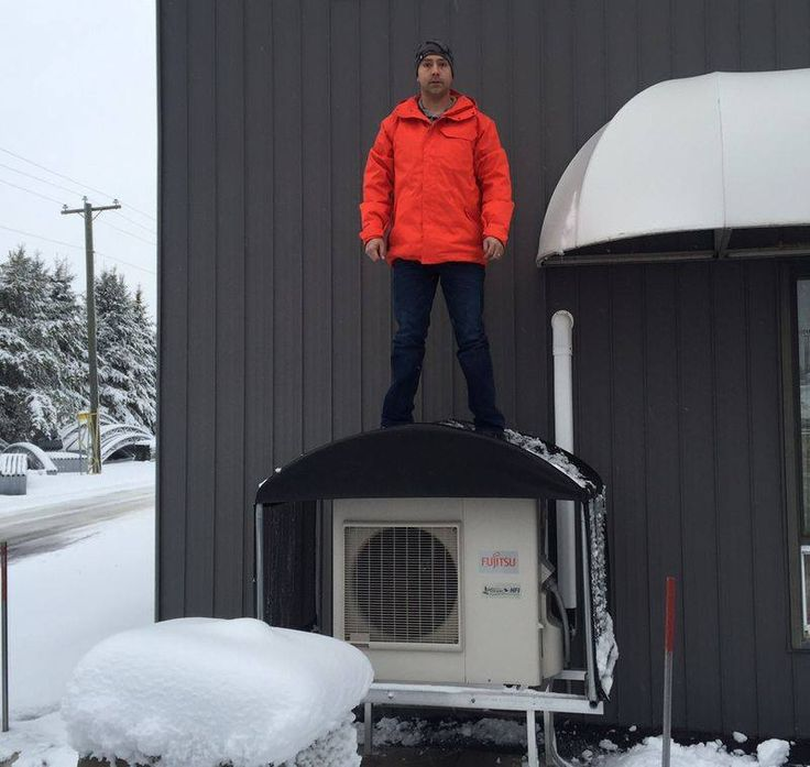 Don't you agree that he looks... oops we mean The Heat Pump Cover looks attractive? It not only looks attractive but serves to prevent snow drifting by cutting down on wind blow through! You know what is more attractive? Our cover is installed with ease using a ratchet and pipe tension system.This system provides a drum tight fit to help prevent snow from sticking.  Your heat pump is an investment you should protect it from the cruel weather conditions like the snow storm we just had…