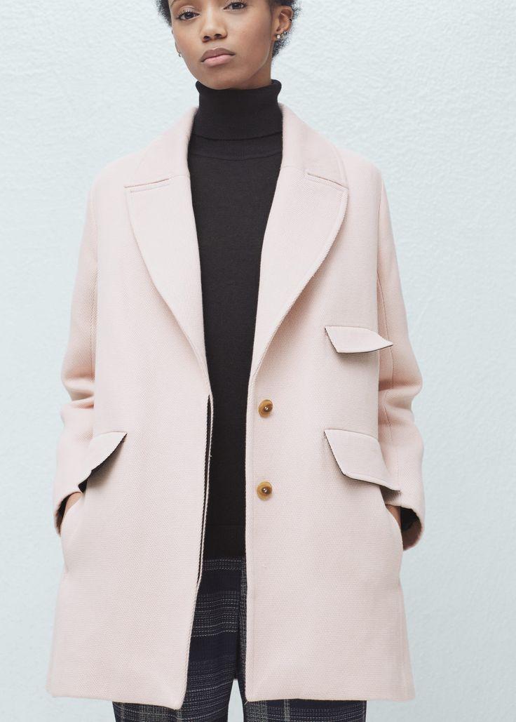 Abrigo algodón solapas -  Mujer | MANGO España
