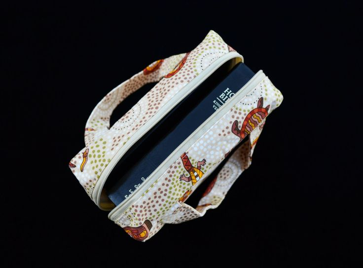 Cream Aboriginal Print 'McPherson' Scripture Case, handmade scripture case, fabric scripture case, book bag by MayboleandWick on Etsy