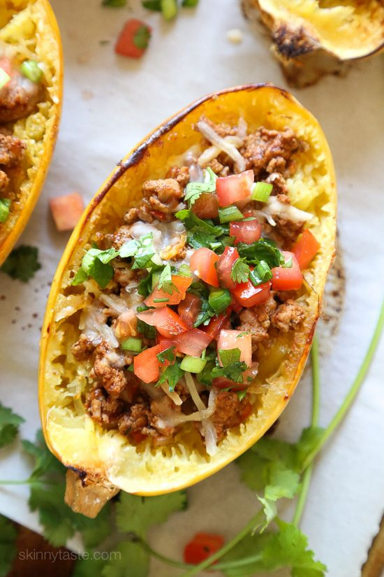 My favorite new way to eat spaghetti squash! Filled with the most flavorful turkey taco meat, cheese and topped with pico de gallo. You can leave the cheese out to make it dairy-free or Whole30.