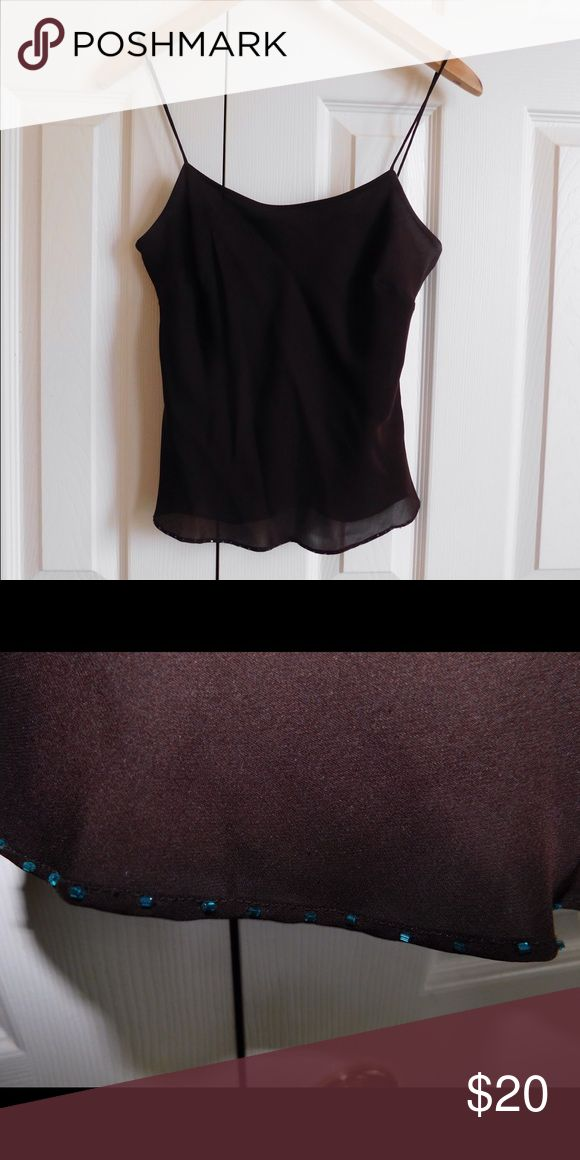 Ann Taylor brown cami top It is in very good condition. In the picture it appears black, but it is actually a dark brown. Also there are small turquoise sequins at the bottom. Ann Taylor Tops Camisoles
