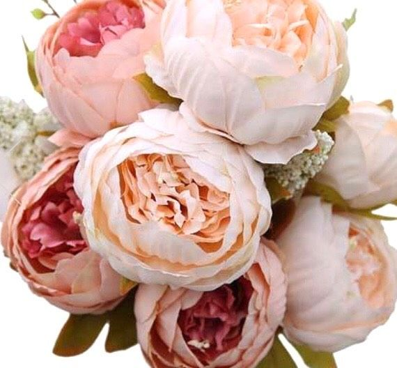 Artificial Peony Bouquet Pink Peonies Bouquet Fake Flowers Artificial Peonies