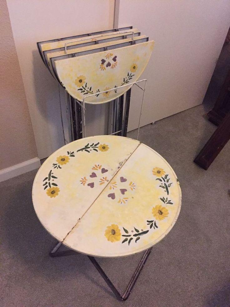 4 Vintage Metal Folding Tables | EBay
