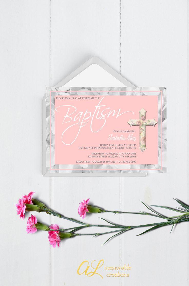 free online christening invitation making%0A Pink and Gray Baptism Invitation  Baptism Invitation  Girl Baptism  Invitation  Floral Baptism Invitation