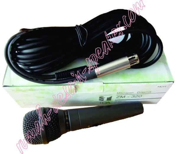 TOA Microphone Kabel ZM-320 Suara mantabb, tidak mudah rusak , body kuat cocok untuk sound system mesjid dll untuk speaker TOA dll.  Suara jernih dan bass terasa.  Specifications Type : Dynamic Microphone Directivity :	Unidirectional Rated Impedance : 600 Unbalanced Rated sensitivity :	-76dB 3dB at 1 kHz Frequency Response :	100 12.000Hz Switch : Short-off type, slide switch Dimension :	52 x 183 mm Weight : 304 g without cable Color : Metalic Dark grey Connection cable : 5mm x 7.5 m, 1-core…