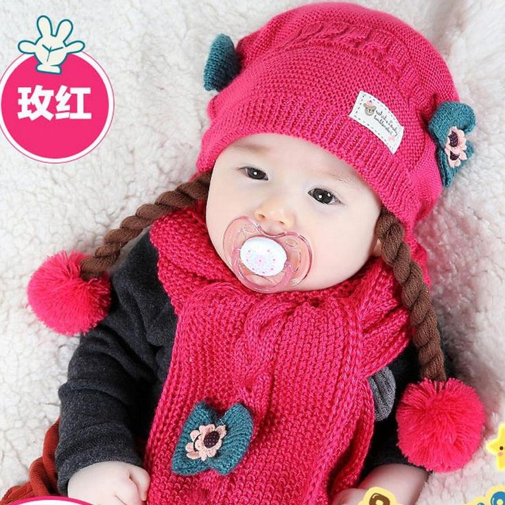 >> Click to Buy << 2016 Korean False braids Child Knitted hats winter two flowers 2 pcs baby girl scarf hat set Age for 6 months-2 Years Old MZ4188 #Affiliate