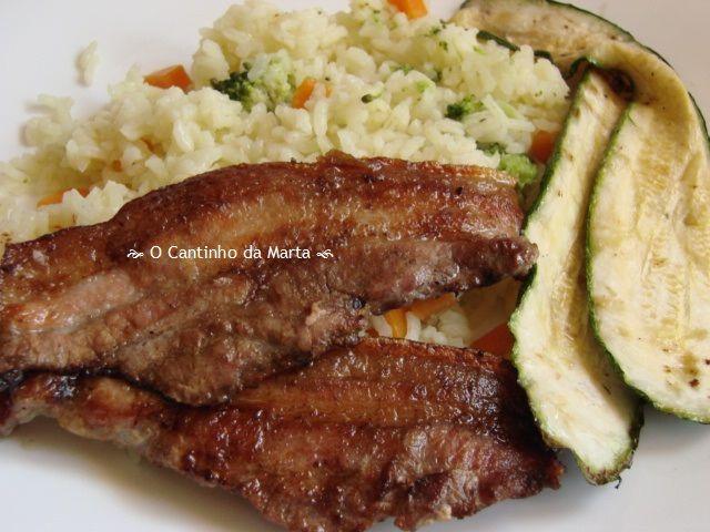 O Cantinho da Marta: Entremeadas Grelhadas com Courgette e Arroz de Cenoura e Bróculos