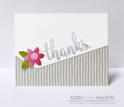 Thanks die; word die; stripes; small flower die; black and white with a pop of color; CAS; border die