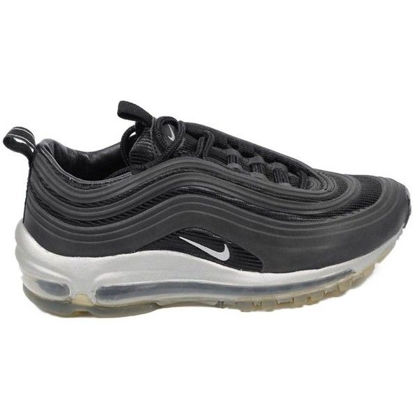 Nike Ladies Sneakers Air Max '97 Lux (€110) ❤ liked on Polyvore featuring shoes, sneakers, black, nike trainers, black leather sneakers, sport shoes, black sport shoes and leather shoes