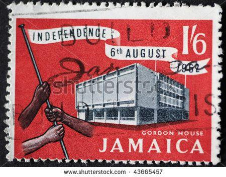 JAMAICA-CIRCA 1962: Jamaican Independence stamp depicting Gordon House, circa 1962.