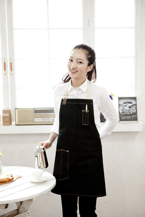Denim Side-pocket black unisex apron, coffee apron,cafe apron,restaurant apron