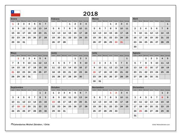 Calendario 2018, Chile con flores Pinterest Planners