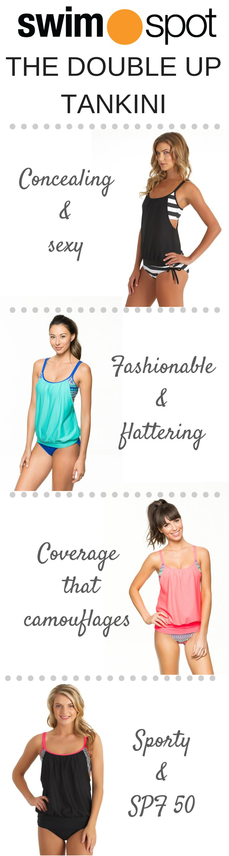 SwimSpot's BEST SELLING tankini, The Double Up, comes in a wide array of colors & prints that are perfect for mixing & matching!