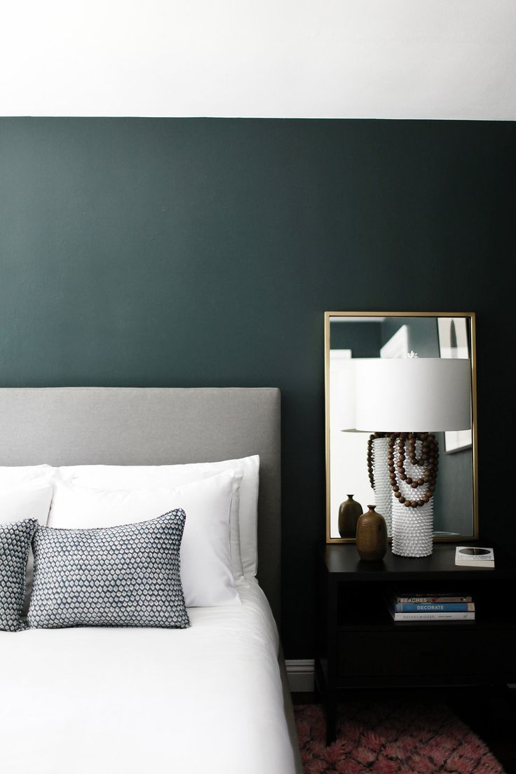 Minimalist Bedroom With Dark Green Walls Gorgeous Paint Color Is Crisp Romaine By
