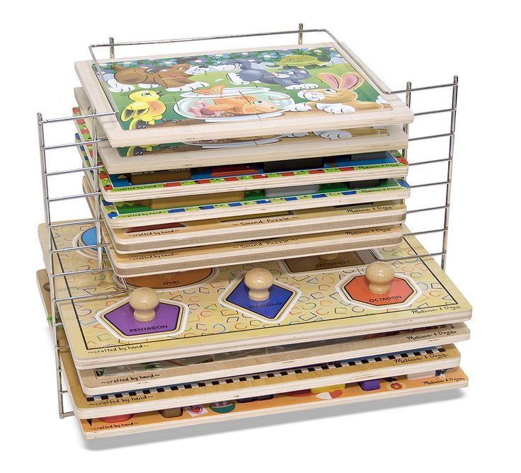 A puzzle rack to solve your storage puzzle! This sturdy wire rack holds up to six large and six small puzzles for convenient cleanup and organization