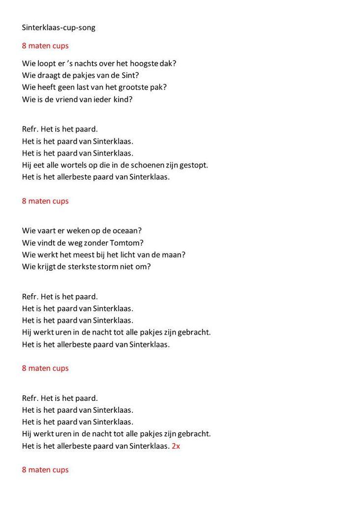 Sinterklaasversie van de Cupsong, gemaakt door groep 6 van De Kabas