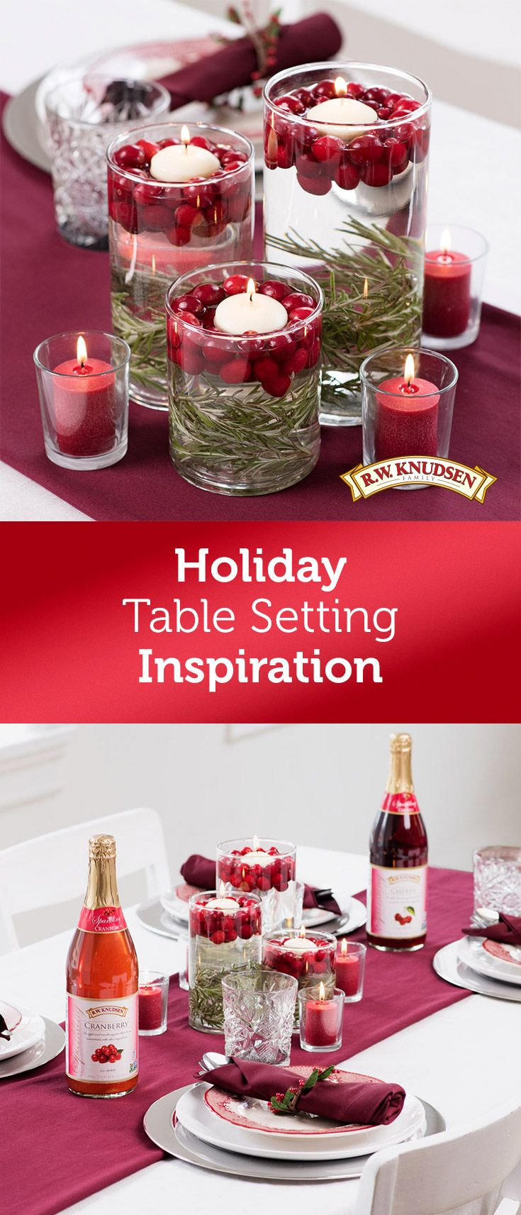 Celebrate around a festive centerpiece this holiday season. Fragrant cranberries and pine needles accent the warm glow of floating candles in this elegant tablescape.