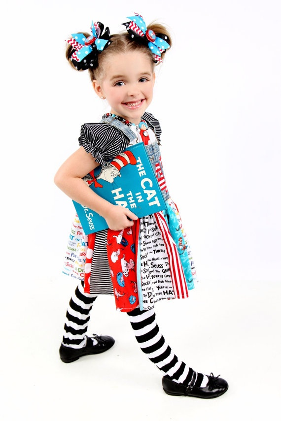Dr. Seuss Cat in the Hat, twirl dress    lisaslittlestitches on etsy.com  $48.00