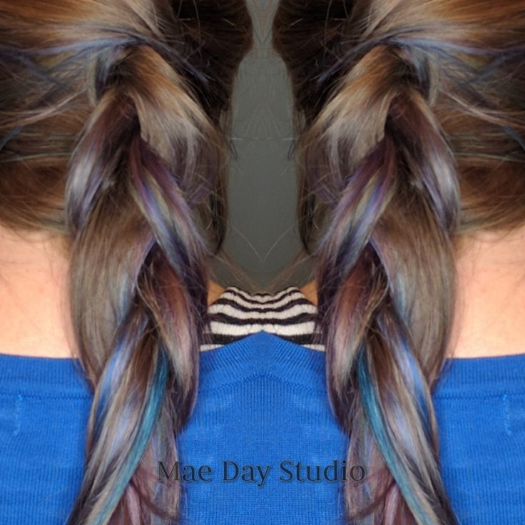 Peekaboo blue and violet pastel hair hand painted dimensional color by Catie Brennan at Mae Day Studio. Hair and makeup artist in Kansas City